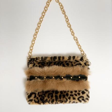 ショルダーポーチ L size(Japan textile・leopard fur )