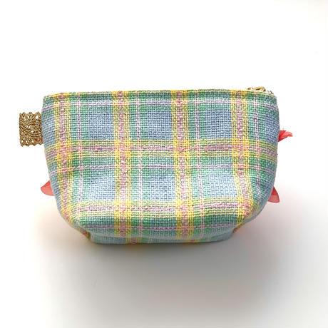 ポーチマチ付き(England pastel colorful check tweed・light blue yellow ribbon)
