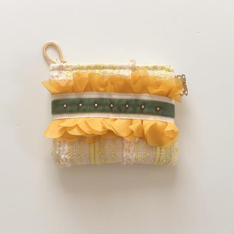 ポーチミニ(Japan neon yellow tweed ・White green  ribbon)