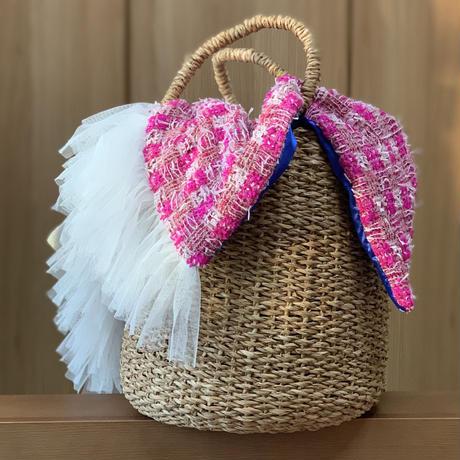 カゴバッグ Mサイズ(England tweed・Thick pink check)