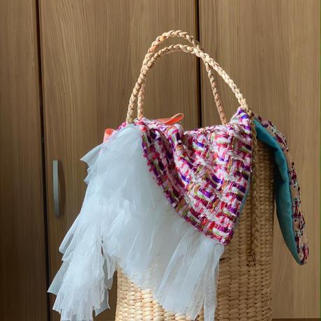 パッチワークツイード カゴバッグ Sサイズ(England tweed ・ pink sky blue tweed patchwork)