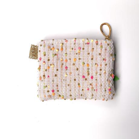 ポーチミニ(Japan beige colorful bonbon tweed ・White  pink  ribbon)