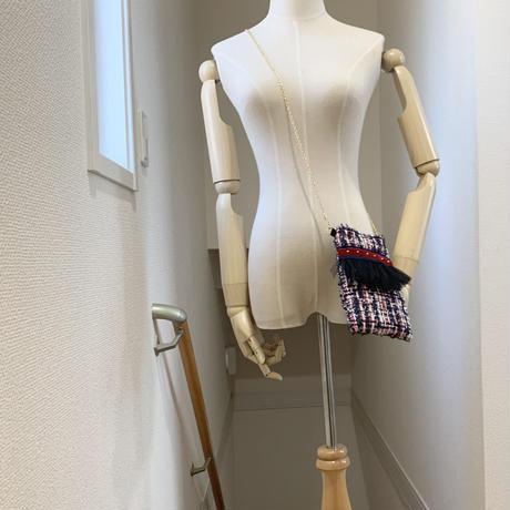 ショルダーポーチ タテ型(England tweed・England tweed・navy red ivory )