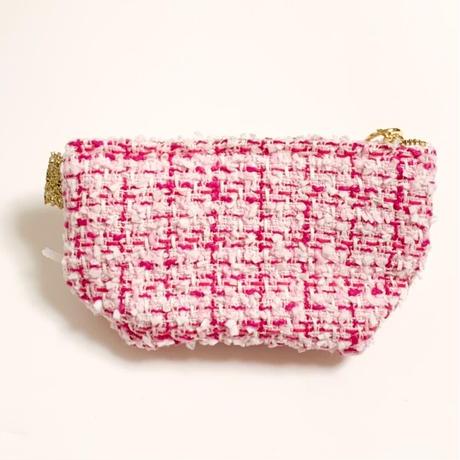 ポーチマチ付き(England tweed・ pink・White pink ribbon)