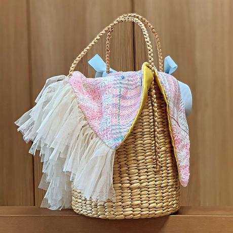 パッチワークツイード カゴバッグ Sサイズ(England tweed ・KiKi LaLa pastel patchwork)