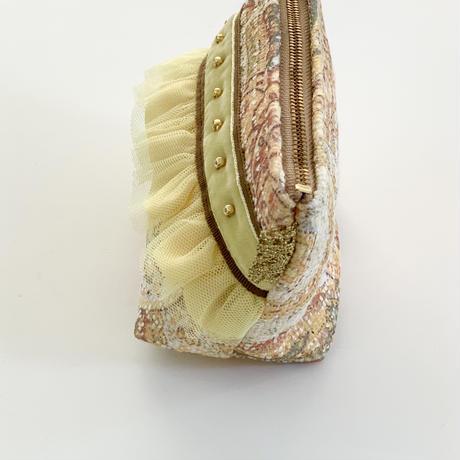 ポーチマチ付き( France   Paisley tweed・ brown yellow ribbon