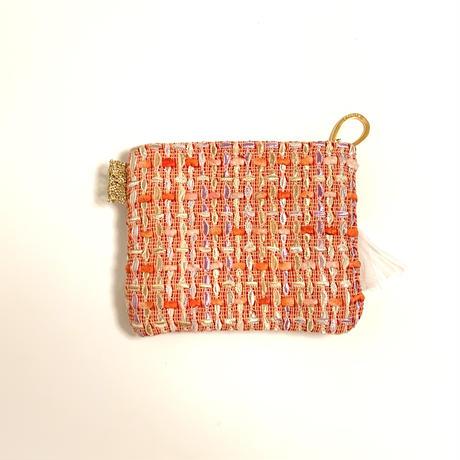 ポーチミニ( England tweed ・sky blue orange ribbon)