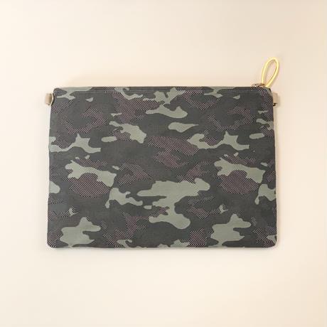 クラッチバッグ(Japan camouflage西陣織・beigegray ribbon)