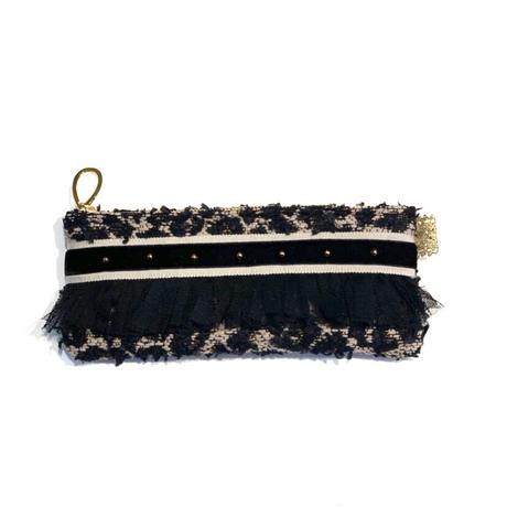 ペンケース(Japan beigeleopard tweed・ beige black ribbon)