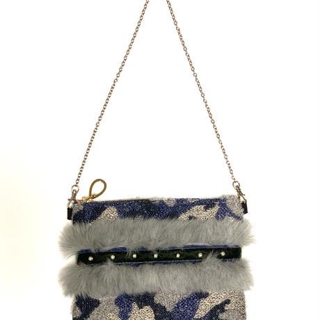 ショルダーポーチ L size(Japan camouflage tweed・grayfur ・navy khaki ribbon )