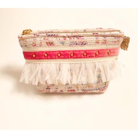 ポーチマチ付き(France tweed・ pink・White pink ribbon)