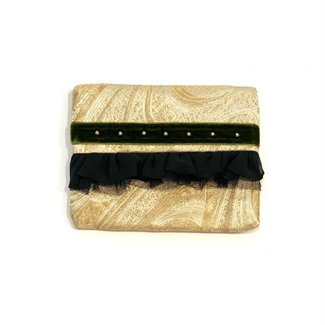 ティッシュケース(西陣織・gold ・ khaki ribbon)
