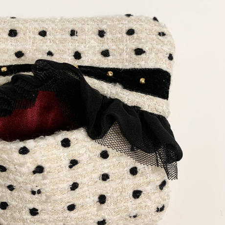 ティッシュケース(Japan tweed ・Black ribbon)