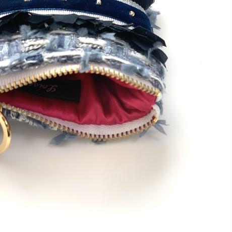 ポーチミニ(Japan Navy silver tweed ・White Navy  ribbon)