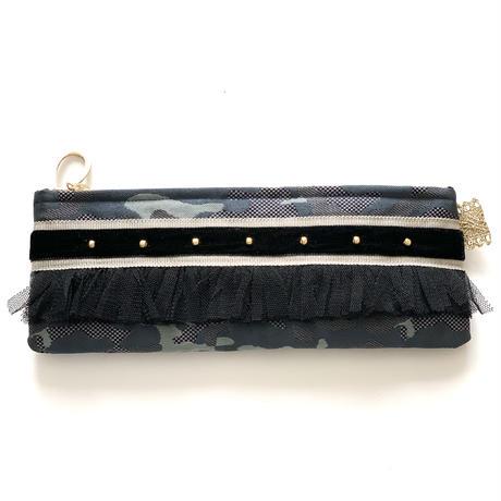 ペンケース(Japan  西陣織  camouflage・  beige black ribbon)