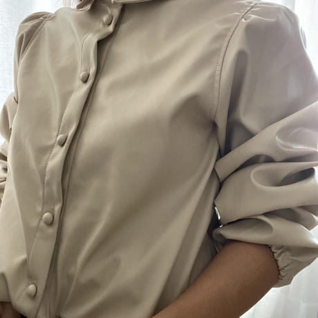 eco leather puff sleeve blouse