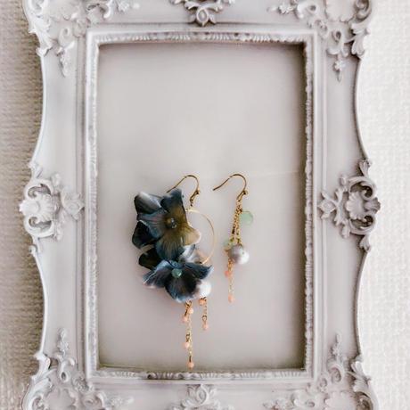 布花のピアス(イヤリング)パールとサンゴ