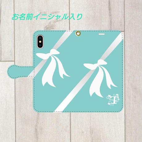 iphone &Android S/M★イニシャル入り♡ティファニーブルーのウェディング・イニシャルリボン柄・手帳型スマフォケース !