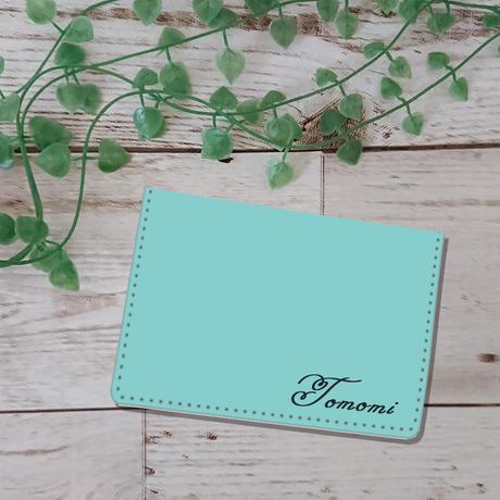 お名前入れオプション可♪♡クラッシックカーモチーフ カードケース(ティファニーブルー)