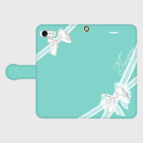 お名前入れオプション可♪ダブルガーリーリボン柄♡(ティファニーブルー)♡手帳型スマホケース♪iPhone 5/5 s/ 5c/ 6/ 6s/ 7/ 8/ SE/ X&Android S/M