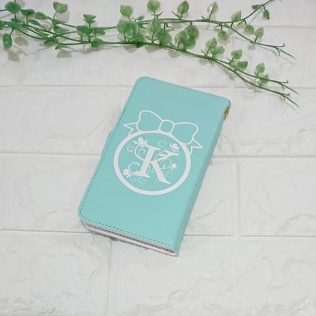 イニシャル入り!iphone plus&AndroidLリボンフレーム&フラワーイニシャル柄(ティファニーブルー)♡手帳型スマホケース♪対応機種多数あり