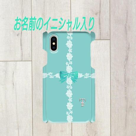 iphone 銀イニシャル入り★ラインレース&リボン柄♡スマフォケース・♪iPhone 5/5 s/ 5c/ 6/ 6s/ 7/ 8/ SE/ X対応