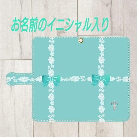 iphone &Android S/M★銀イニシャル入り♡ラインレース&リボン柄・手帳型スマフォケース !