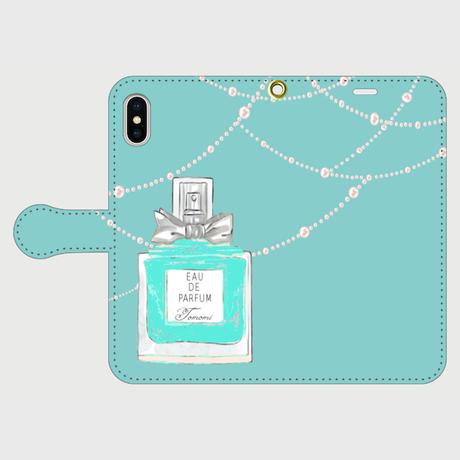 お名前入れオプション可♪パフュームボトル柄♡(ティファニーブルー)♡手帳型スマホケース♪iphone Plus/XR/XsMax/11/11ProMax、AndoroidL
