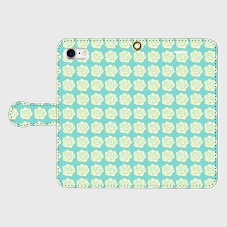 名入れオプション可!手帳型ローズ柄スマフォケース・ティファニーブルー色♡