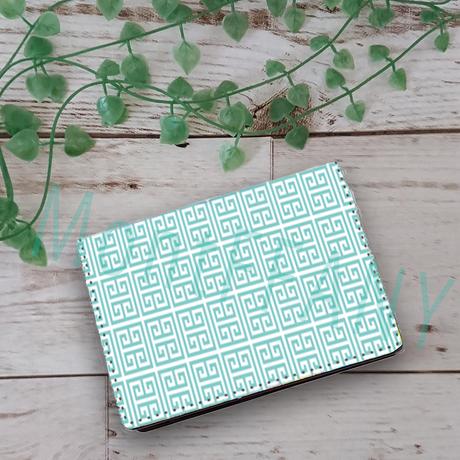 お名前入れオプション可♪♡幾何学柄カードケース(ティファニーブルー)