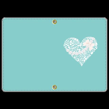 お名前入れオプション可♪♡パールネックレスハート柄パスポートケース(ティファニーブルー)