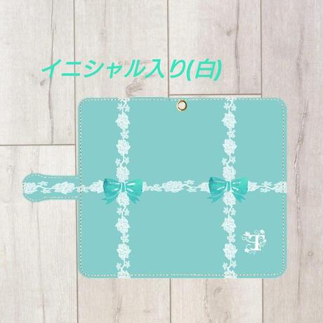 iphone &Android S/M★白イニシャル入り♡ラインレース&リボン柄・手帳型スマフォケース !