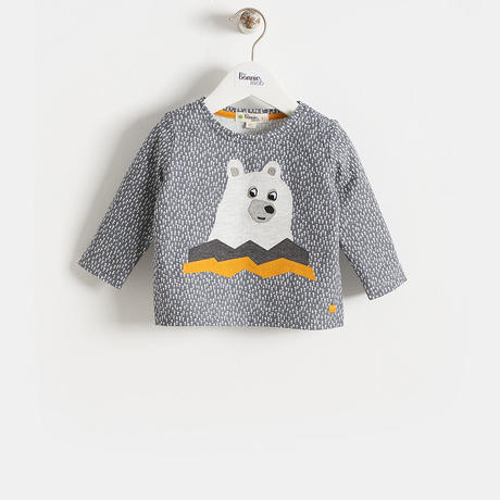 BEARアップリケ・ロング袖Tシャツ(Baby)