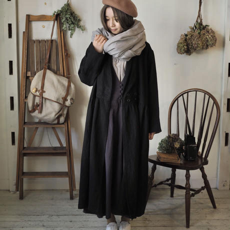 wool麻 大判shawl 手染 ライトグレー 【web価格】