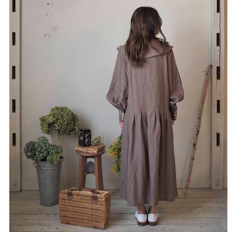 大きな襟のカシュカシュワンピース / チョコ  【web価格】
