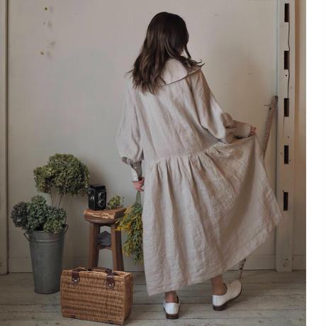 大きな襟のカシュカシュワンピース / 生成り  【web価格】