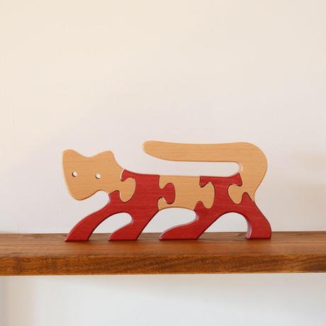 〈2才-〉【立体パズル】【インテリア】VITALI 動物パズル ねこ (赤)