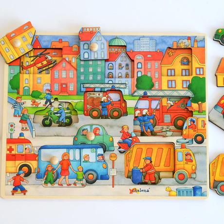 〈1才-3才〉【はじめてのパズル】ポッチ付きパズル 大通り(9ピース)