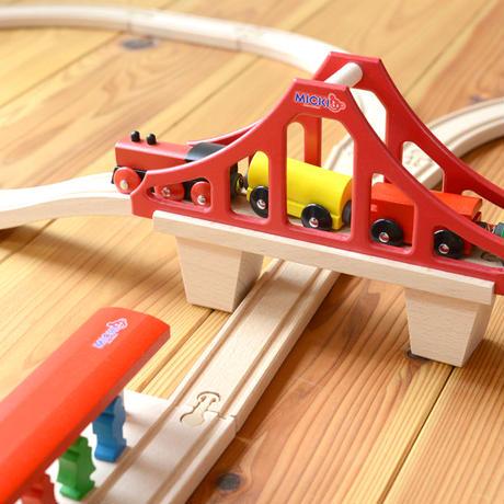 〈2才-〉【汽車レールセット】MICKI  汽車セット つり橋