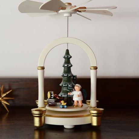 【クリスマス】ピラミッド C.Sもみの木と2人の天使 ( 白 )