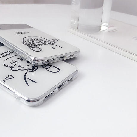 【N321】★ iPhone 6 / 6sPlus / 7 / 7Plus / 8 / 8Plus / X /XS /XR/Xs max★ シェルカバーケース Boy and Girl