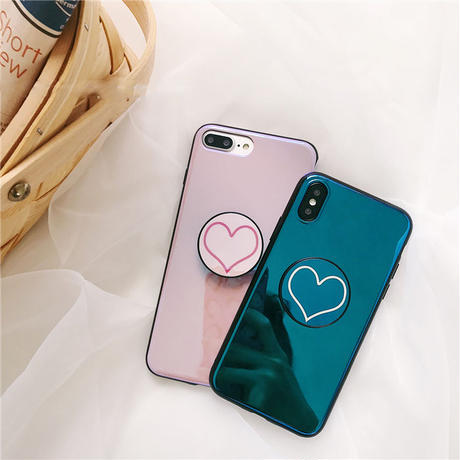 【M555】★ iPhone 6 / 6s / 6Plus / 6sPlus / 7 / 7Plus / 8 / 8Plus / X/XS ★ シェルカバー ハート Stander  可愛い 便利