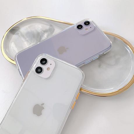 【C032】★ iPhone 12/11/11Pro/11ProMax/ 7 / 8 / 8Plus / X/ XS / Xr /Xsmax ★  ケース クリア  カラフルボタン付き