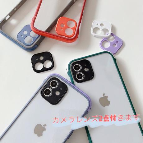 【C621】★ iPhone 12/12PRO/12MINI/SE/11/11Pro/11ProMax/7/7Plus/X/XS/XR/Xsmax ★  ケース カメラレンズ2点付き