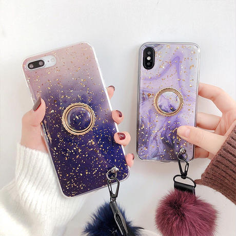 【M287】★ iPhone 6 / 6sPlus / 7 / 7Plus / 8 / 8Plus / X /XS /XR/Xs max★ シェルカバーケース Purple WITH Ring