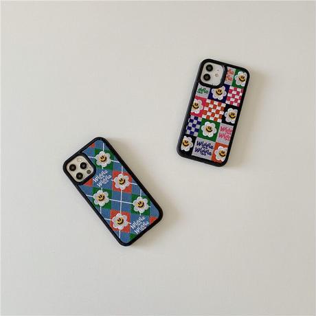 韓国【C645】★ iPhone12/11/Pro/ProMax /7/8Plus/X/XS /XR/Xs max★ シェルカバーケース  刺繍 オシャレ