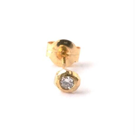 Rought Collet Melee Diamond Pierced Earring