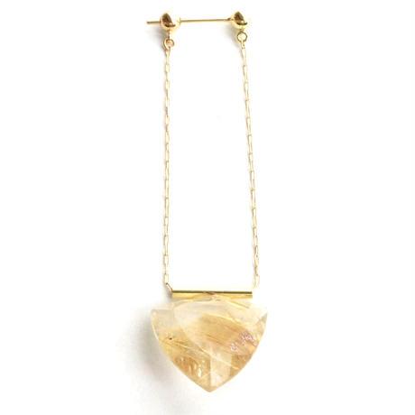 Gold rutiled quartz Pipe Pierced Earring