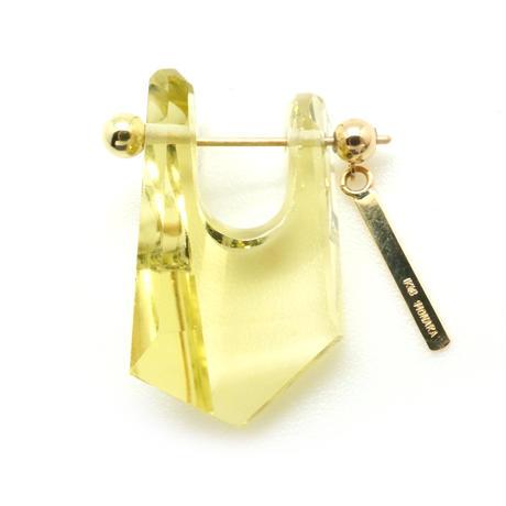 Lemon quartz Rock Pierced Earring