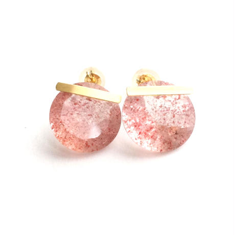 Strawberry quartz Bar Pierced Earring